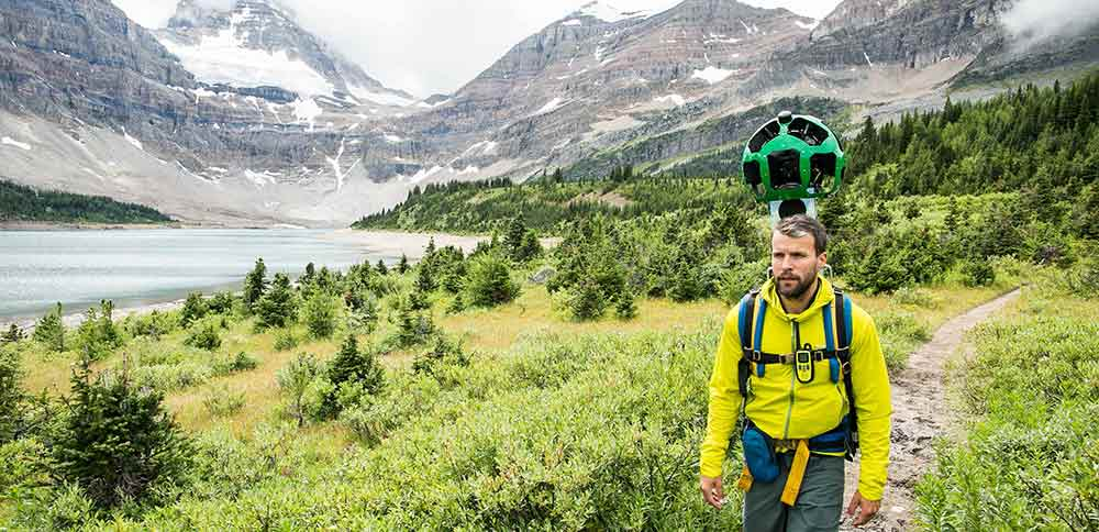 The Google Street View Trekker in the Kootenay Rockies.