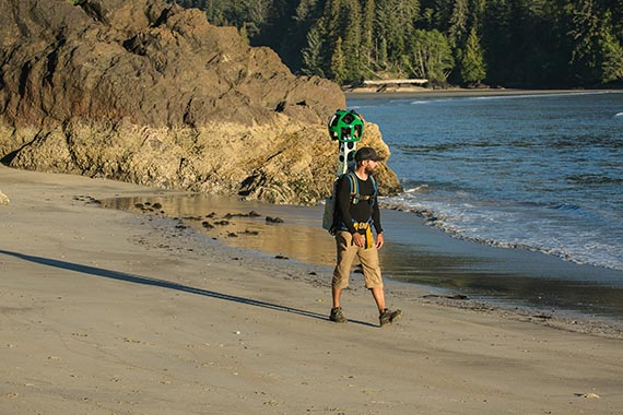 The Google Street View Trekker at San Josef Bay, Cape Scott Provincial Park on Vancouver Island. | Photo credit: Destination BC/Rick Graham